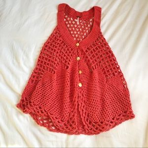 Free People Orange Crocheted Vest w/ Gold Buttons